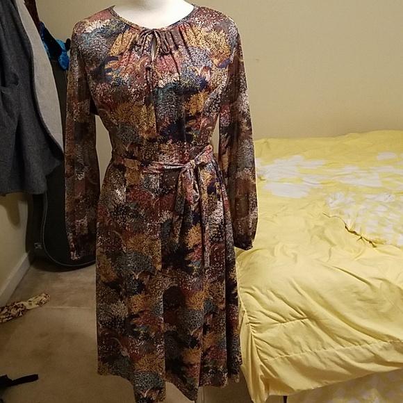 Vintage floral tone secretary dress plus size